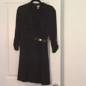 Cache black dress with buckle